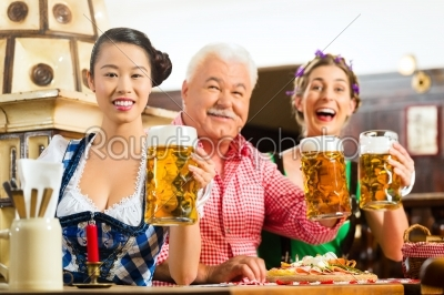 stock photo: friends drinking beer in bavarian pub-Raw Stock Photo ID: 49436