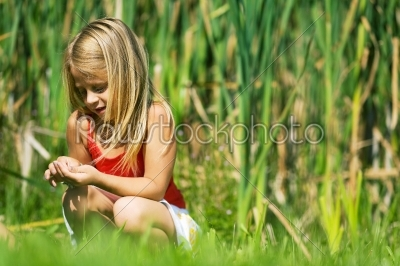 stock photo: girl in the reed-Raw Stock Photo ID: 51472