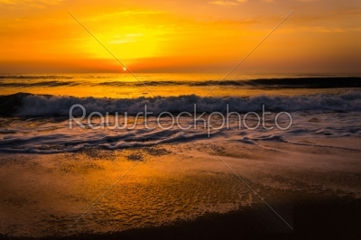 stock photo: golden sunrise sunset over the sea ocean waves-Raw Stock Photo ID: 67505