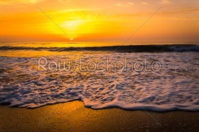 stock photo: golden sunrise sunset over the sea ocean waves-Raw Stock Photo ID: 67515