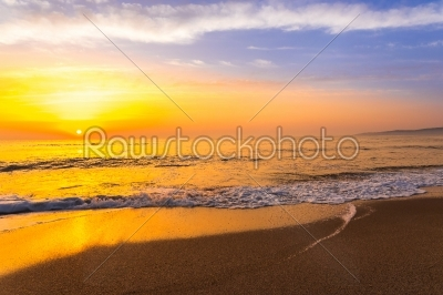 stock photo: golden sunrise sunset over the sea ocean waves-Raw Stock Photo ID: 67524