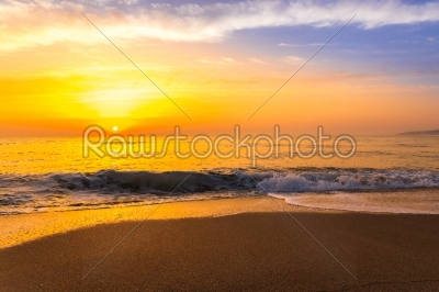 stock photo: golden sunrise sunset over the sea ocean waves-Raw Stock Photo ID: 67527