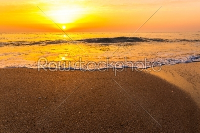 stock photo: golden sunrise sunset over the sea ocean waves-Raw Stock Photo ID: 67529