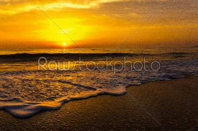stock photo: golden sunrise sunset over the sea ocean waves-Raw Stock Photo ID: 67538