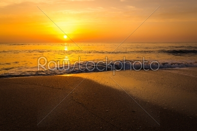 stock photo: golden sunrise sunset over the sea ocean waves-Raw Stock Photo ID: 67553