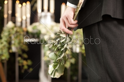 stock photo: grief  man with white roses at urn funeral-Raw Stock Photo ID: 51906