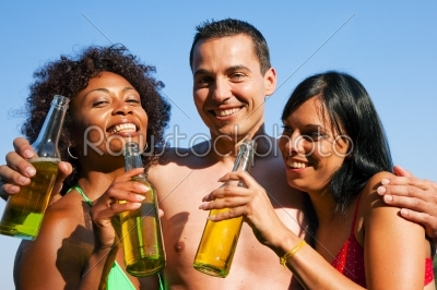 stock photo: group of friends drinking beer in swimwear-Raw Stock Photo ID: 51059