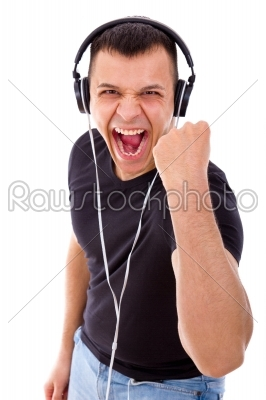 stock photo: hadsome man with headphones showing success-Raw Stock Photo ID: 53558