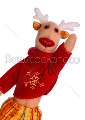 stock photo: handmade toy christmas deer isolate over white-Raw Stock Photo ID: 68237