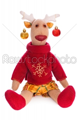 stock photo: handmade toy vintage christmas deer sitting isolate over white-Raw Stock Photo ID: 68236