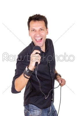 stock photo: handsome man with microphone singing-Raw Stock Photo ID: 53559