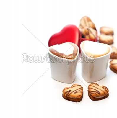 stock photo: heart shaped cream cookies on red heart metal box and coffee-Raw Stock Photo ID: 58472
