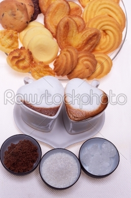 stock photo: heart shaped espresso coffee cappuccino cups-Raw Stock Photo ID: 58508