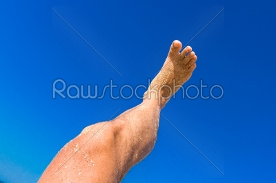 stock photo: high resolution male leg on blue sky background-Raw Stock Photo ID: 57570