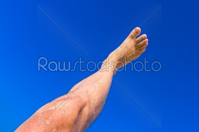 stock photo: high resolution male leg on blue sky background-Raw Stock Photo ID: 57571