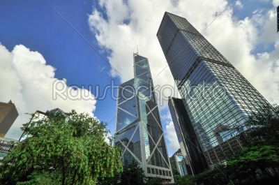 stock photo: hong kong bank skysraper with blue sky-Raw Stock Photo ID: 57173