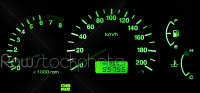 stock photo: horizontal isolated green car speedometer no fuel panel backgrou-Raw Stock Photo ID: 73921