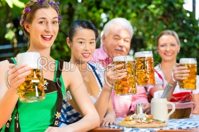 stock photo: in beer garden  friends drinking beer in bavaria-Raw Stock Photo ID: 49440