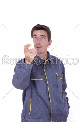 stock photo: incompetent man worker-Raw Stock Photo ID: 52354
