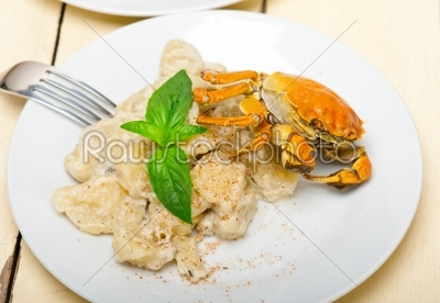 stock photo: italian gnocchi with seafood sauce with crab and basil-Raw Stock Photo ID: 63793