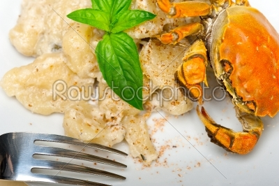 stock photo: italian gnocchi with seafood sauce with crab and basil-Raw Stock Photo ID: 63803