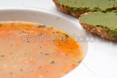 stock photo: italian minestrone soup with pesto crostini on side-Raw Stock Photo ID: 59452