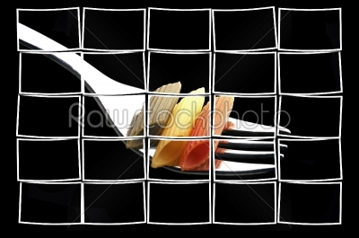 stock photo: italian penne pasta on a fork-Raw Stock Photo ID: 54769