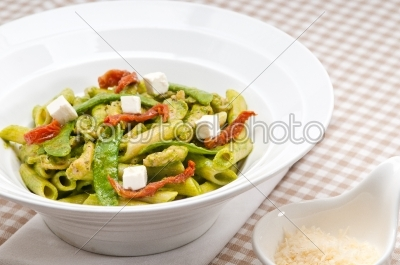 stock photo: italian penne pasta with sundried tomato and basil-Raw Stock Photo ID: 59585