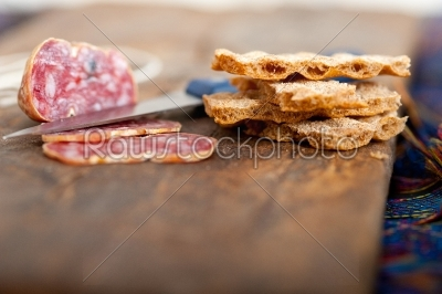 stock photo: italian salame pressato pressed slicing-Raw Stock Photo ID: 63951