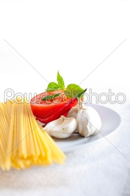 stock photo: italian spaghetti pasta tomato ingredients-Raw Stock Photo ID: 59912