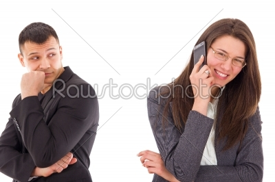 stock photo: jealous man suspecting his woman is unfaithful and having secret-Raw Stock Photo ID: 53606