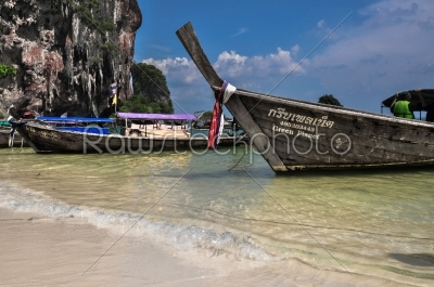 stock photo: long tail boat on tropical beach krabi thailand-Raw Stock Photo ID: 56271