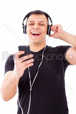 stock photo: man laughing watching and listening radio show on mobile phone-Raw Stock Photo ID: 53735