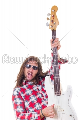 stock photo: man showing his electric bass guitar-Raw Stock Photo ID: 53769