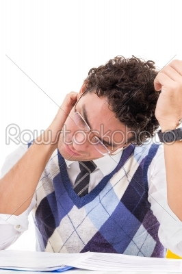 stock photo: man with neck pain in pullover reading book-Raw Stock Photo ID: 52355