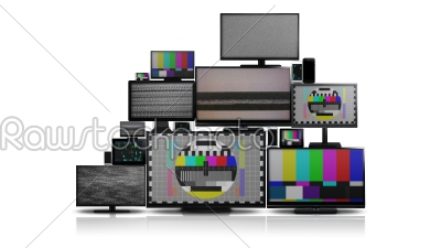 stock photo: many different types of screens with no signal-Raw Stock Photo ID: 75055