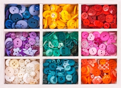 stock photo: multicolor buttons  for handicrafts in box isolated on white-Raw Stock Photo ID: 68230