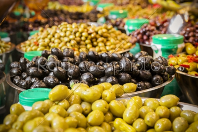 stock photo: olives at a market stall a variety of types of olives-Raw Stock Photo ID: 75056
