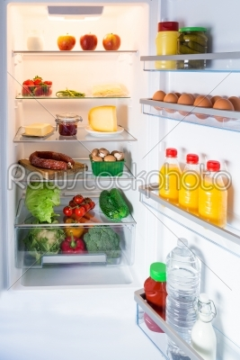 stock photo: open fridge filled with food-Raw Stock Photo ID: 70341