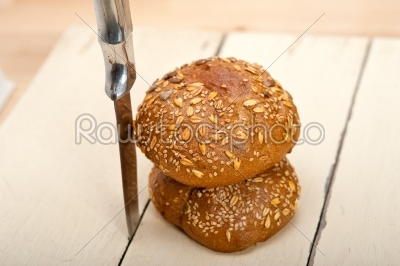 stock photo: organic bread over rustic table-Raw Stock Photo ID: 64300