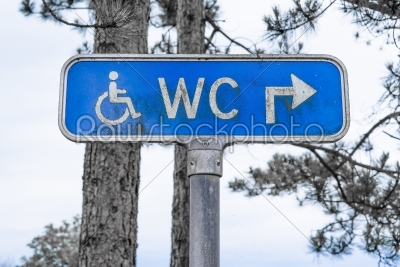 stock photo: outdoor toilet sign in blue color-Raw Stock Photo ID: 69805