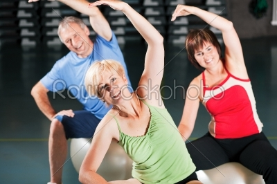 stock photo: people in gym on exercise ball-Raw Stock Photo ID: 50884