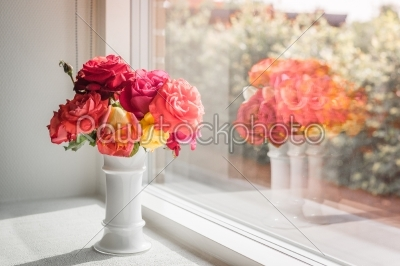 stock photo: pink roses in a window-Raw Stock Photo ID: 69819