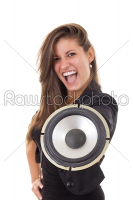 stock photo: pretty business woman with speaker-Raw Stock Photo ID: 53994