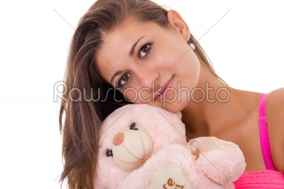 stock photo: pretty woman holding teddy bear reminding her of childhood-Raw Stock Photo ID: 56409