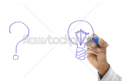 stock photo: problem and solution concept drawn on transparent wipe board-Raw Stock Photo ID: 61489