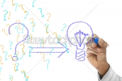 stock photo: problem and solution concept drawn on transparent wipe board-Raw Stock Photo ID: 61492
