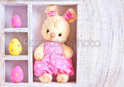stock photo: rabbit bunny toy and easter eggs on the case -Raw Stock Photo ID: 68337