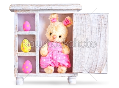 stock photo: rabbit bunny toy and easter eggs ona wood case isolated -Raw Stock Photo ID: 68291