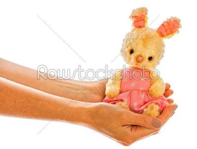 stock photo: rabbit bunny toy isolated in hand-Raw Stock Photo ID: 68241